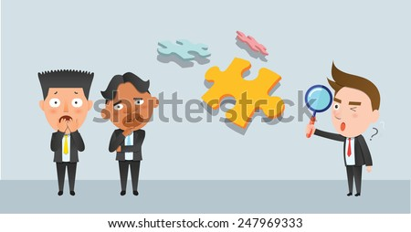 Business corporation puzzle concept flat character - stock vector
