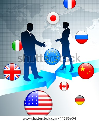 Business Couple on world map background with internet flag buttons Original Vector Illustration - stock vector