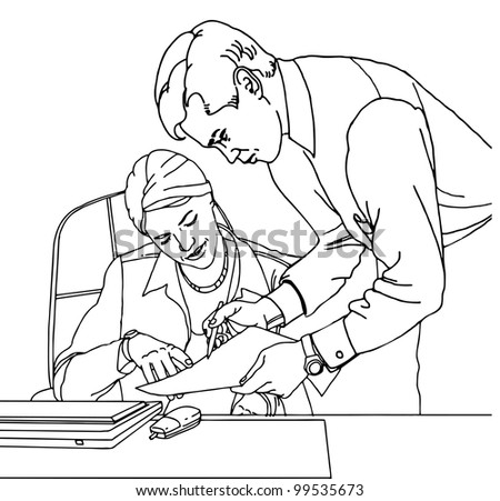 Business couple working  at the office  vector illustration in outline; isolated on background. - stock vector
