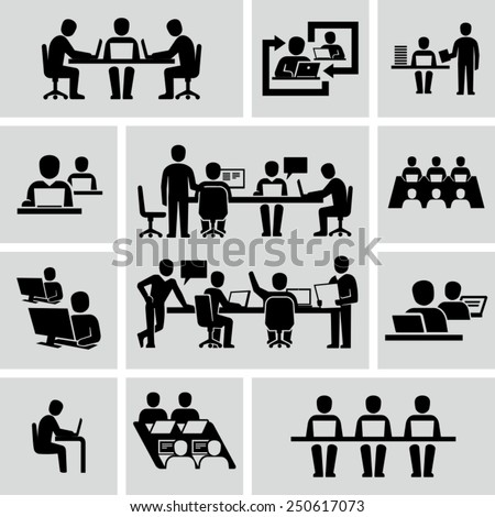 Business Coworkers talking and working at the computers vector icons  - stock vector