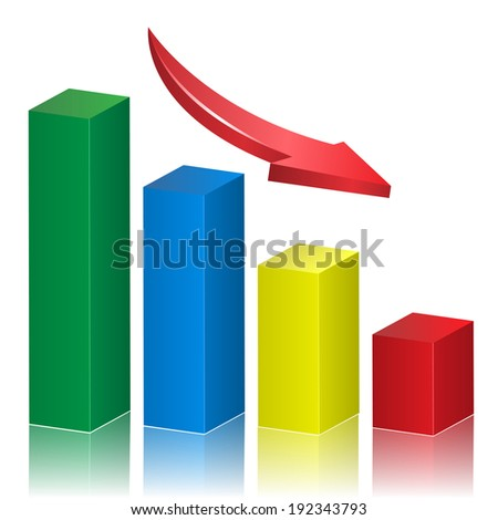 Business crisis graph with falling arrow. Vector illustration. - stock vector