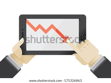 Business crisis or recession graph on tablet computer in businessman hands. Idea - Business education, Business problems, Recession, Crisis. - stock vector