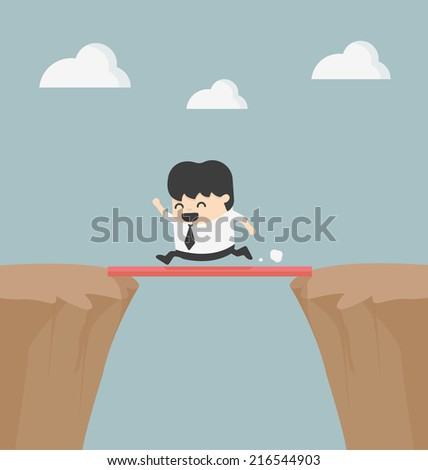 Business Cross the cliff  With wonderful wood - stock vector
