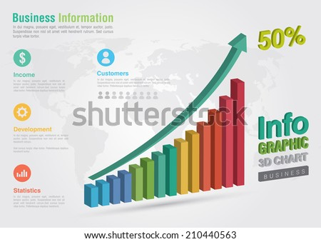 Business 3D line chart infographic. Business report creative marketing. Business success. - stock vector