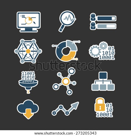 Business data analytic flat style icons set - stock vector