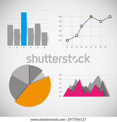 Business data elements: infographics statistics, charts and graphs - stock vector