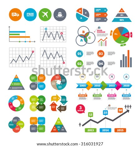 Business data pie charts graphs. Cargo truck and shipping icons. Shipping and free delivery signs. Transport symbols. 24h service. Market report presentation. Vector - stock vector