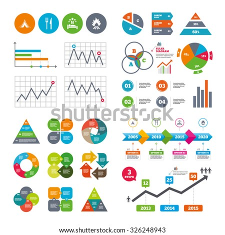 Business data pie charts graphs. Food, sleep, camping tent and fire icons. Knife and fork. Hotel or bed and breakfast. Road signs. Market report presentation. Vector - stock vector
