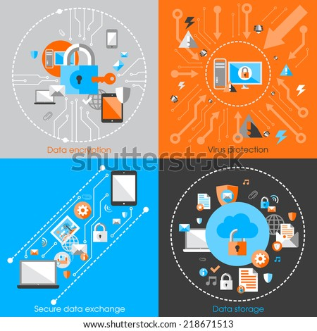Business data protection technology and cloud network security concept infographic design elements vector illustration - stock vector