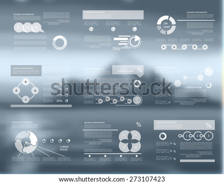 Business data visualization in blurred background, vector - stock vector