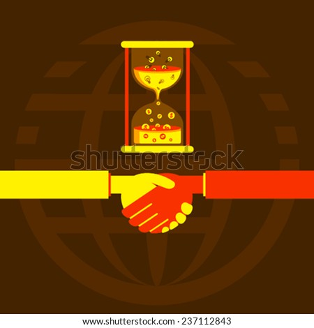business deal and work on time or time is money concept design vector - stock vector
