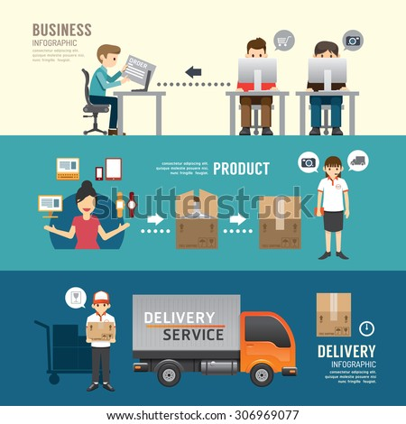 Business design e-shopping concept people set presentation, planning, order, shopping, shipping, delivery service. with flat icons. vector illustration - stock vector