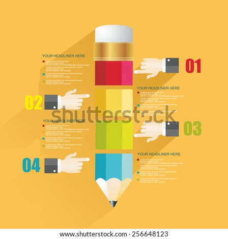 Business Design Template with Pencil and man's hands. Can be used for step lines, number banners, timeline, diagram, web design. - stock vector
