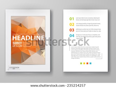 Business design templates. Brochure with Multicolored Polygonal Mosaic Backgrounds. Geometric Triangular Abstract Modern Vector Illustration. - stock vector