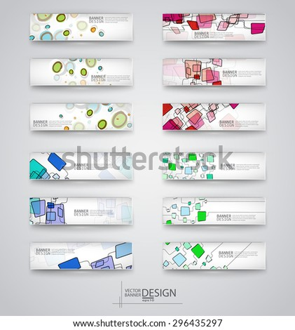 Business design templates. Set of Banners with Multicolored Backgrounds. Geometric Forms Abstract Modern Vector Illustration. - stock vector