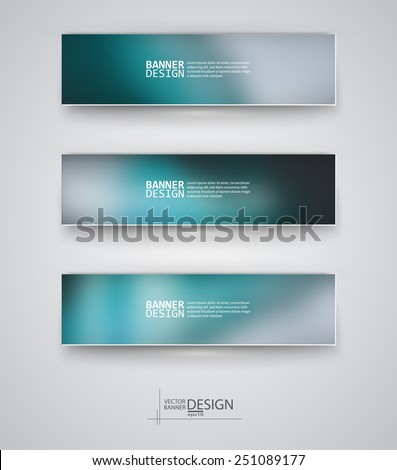 Business design templates. Set of Banners with Multicolored Blured Backgrounds. Unfocused Abstract Modern Vector Illustration. - stock vector