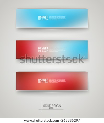 Business design templates. Set of Banners with Multicolored Blurred Backgrounds. Unfocused Abstract Modern Vector Illustration. - stock vector