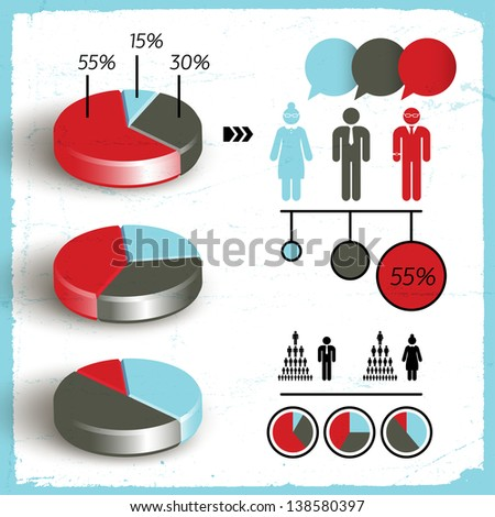 Business diagram template with text fields. Vector Illustration, eps10, contains transparencies. - stock vector
