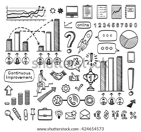 Business doodle set. Vector hand drawn sketch icons. Isolated on white background. Infographics. - stock vector