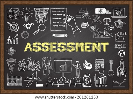 Business doodles about assessment on chalkboard. - stock vector
