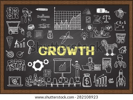 Business doodles about growth on chalkboard. - stock vector