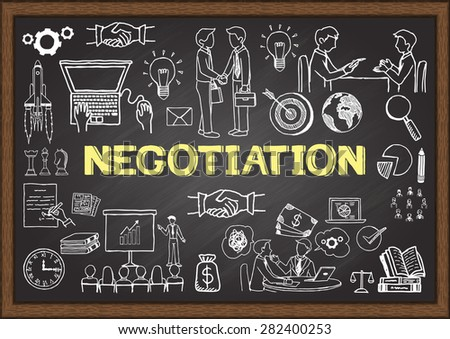 Business doodles about negotiation on chalkboard. - stock vector