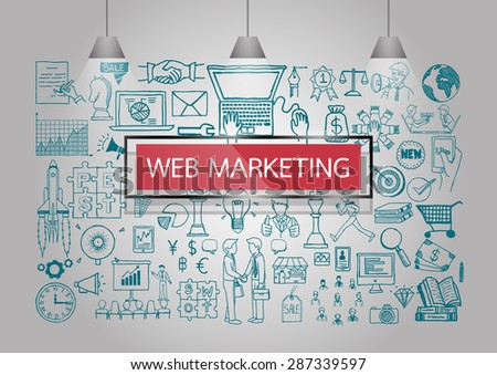 Business doodles about web marketing on the wall with red transparent frame and lamps. - stock vector