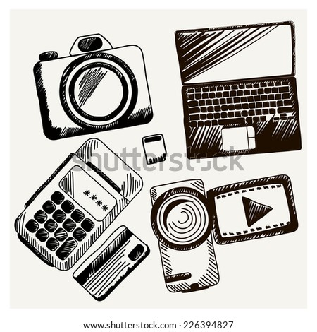 Business doodles icons Sheet of paper with video camera laptop cash mashines in sketch style - stock vector