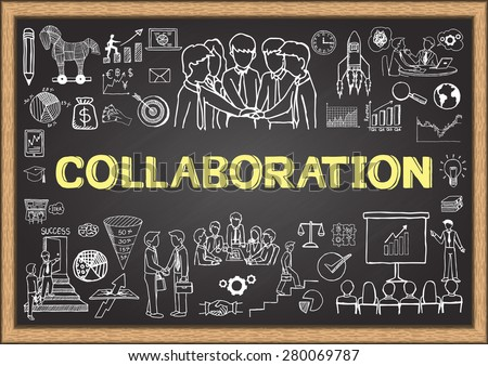 Business doodles on chalkboard with the concept of Collaboration. - stock vector