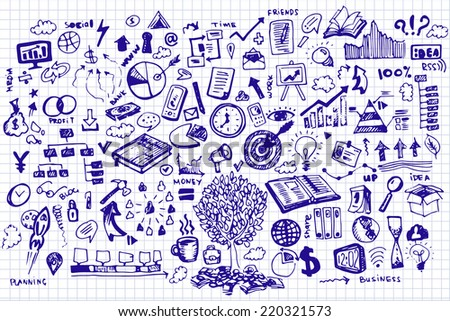 Business Doodles on notebook sheet - stock vector