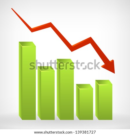 Business down shiny chart width negative arrow. Vector illustration. Isolated from background. - stock vector