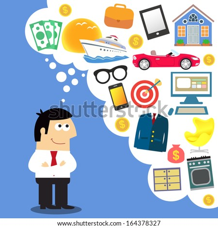 Business dreams, future planning vector illustration - stock vector