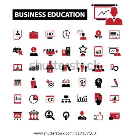 business education, conference, seminar icons - stock vector