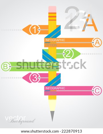 Business education pencil Infographics option. Vector illustration. can be used for workflow layout, banner, diagram, number options, step up options, web design - stock vector