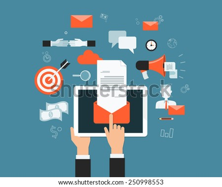 business email marketing content on mobile  background - stock vector