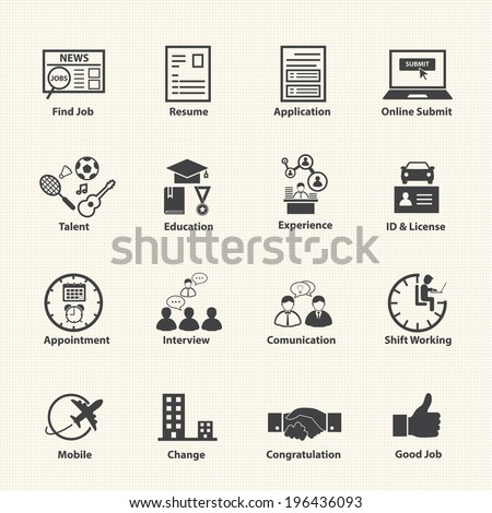 Business Employment Icons Set - stock vector