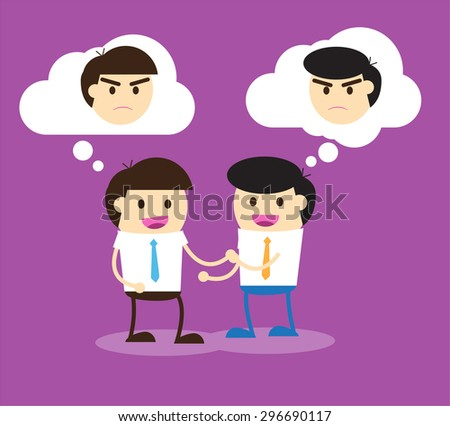 Business etiquette forbids show negative emotions. Insincere partnership, Businessman handshake, illustration vector design. smile, crafty. businessman - stock vector