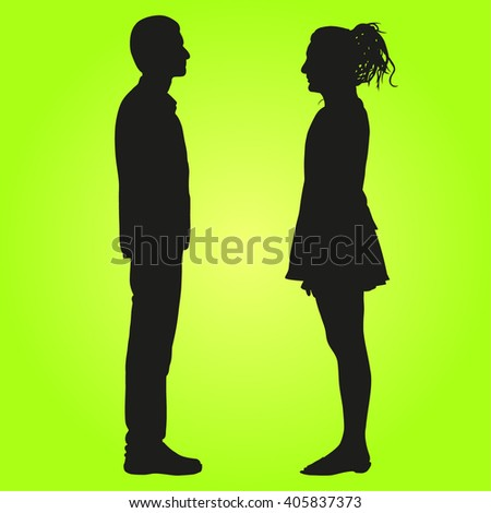 Business Executives or People or Couples Standing Side Pose- Illustration - stock vector
