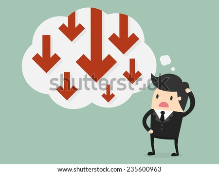 Business failure. Young worried businessman thinking about business graph with negative trend - stock vector