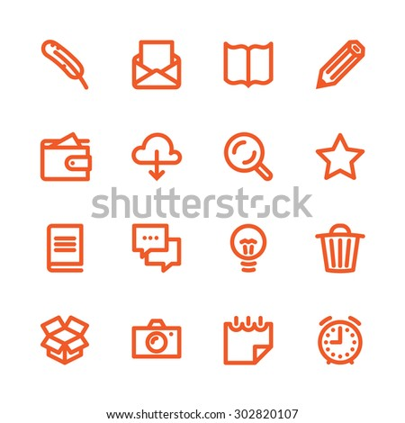 Business Fat Line Icon set for web and mobile. Modern minimalistic flat design elements of working with paper, reading and writing, time management and ideas - stock vector