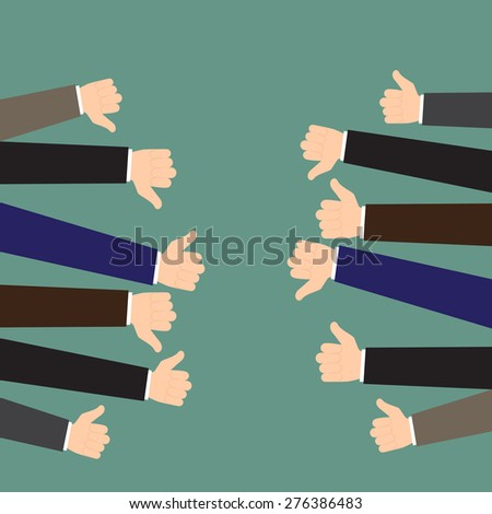 Business feedback concept. Like and dislike. Vector flat illustration. - stock vector