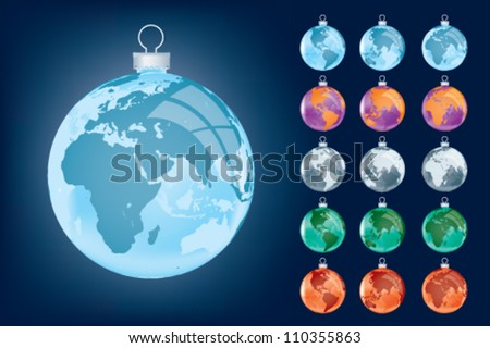 Business festive globe, xmas around the world - stock vector