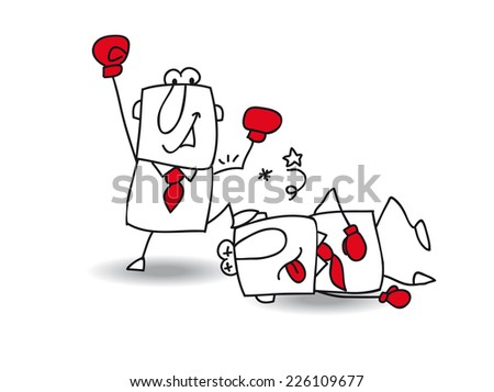 Business Fight club. Joe is the winner.  He knocked John. It's a a metaphor for the competition between two managers - stock vector