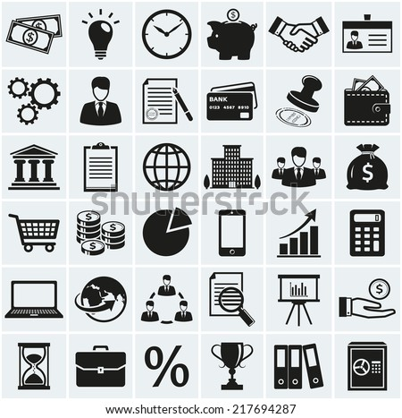 Business, finance and marketing icons. Set of 36 concept symbols. Collection of silhouette black elements for your design. Vector illustration. - stock vector
