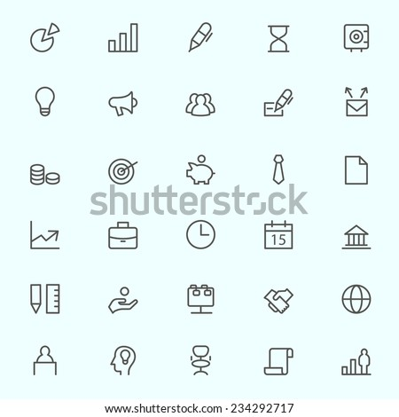 Business, finance and marketing icons, simple and thin line design - stock vector