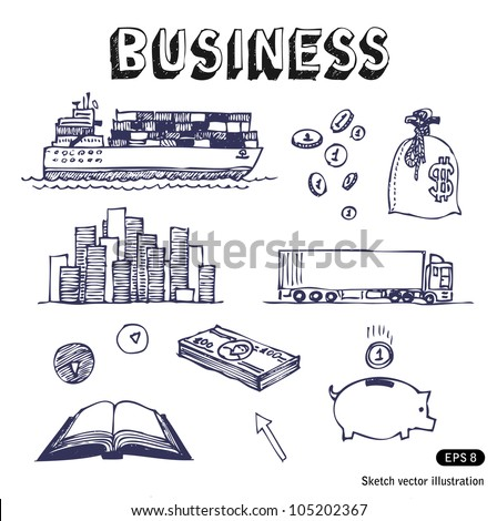 Business, finance and transportation icon set. Hand drawn sketch illustration isolated on white background - stock vector