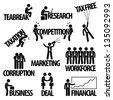 Business Finance Businessman Entrepreneur Employee Worker  Team Text Word Stick Figure Pictogram Icon - stock vector