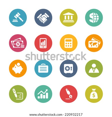 Business & Finance Icons // Fresh Colors -- Icons and buttons in different layers, easy to change colors. - stock vector