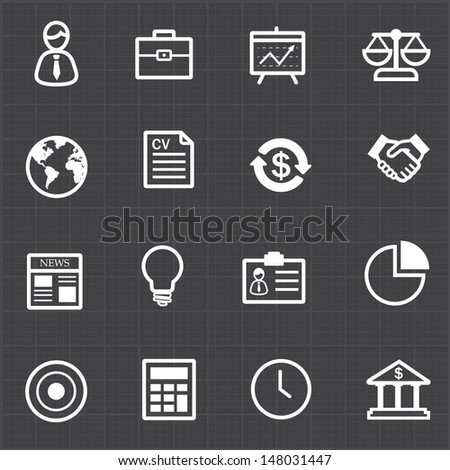 Business finance icons set and black background - stock vector