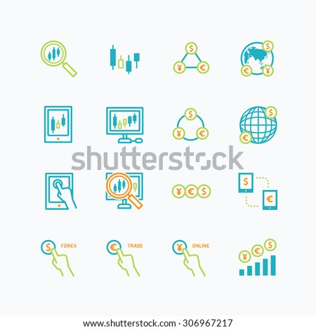 business finance online trading outline concept. forex vector flat icons set of investment. - stock vector
